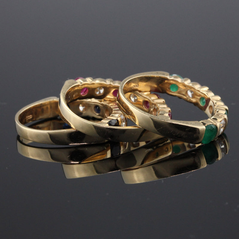Set of 3 Vintage Estate 14K Yellow Gold Diamond Ruby Sapphire Emerald Stacking Rings - The Antique Parlour