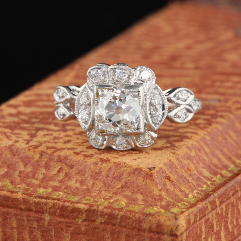 Antique Art Deco Platinum & Diamond Engagement Ring - GIA - The Antique Parlour