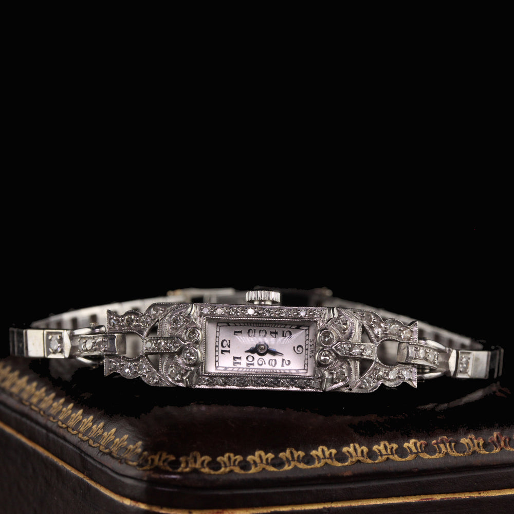 Antique Art Deco Platinum and 14K White Gold Diamond Watch