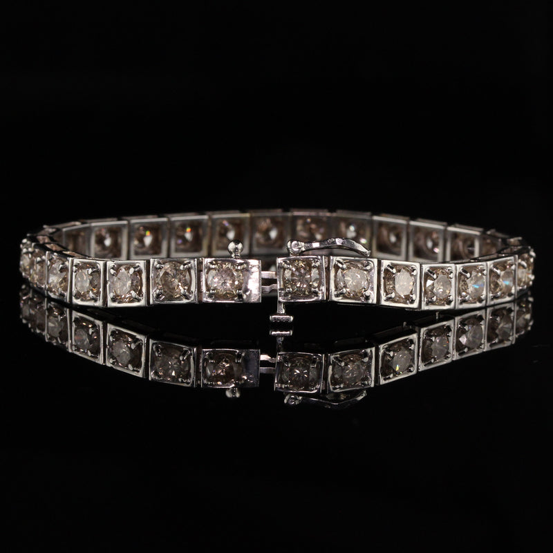 Vintage Estate 14K White Gold Brown Diamond Bracelet