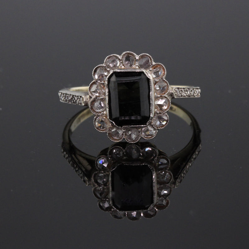 Edwardian 14K Yellow Gold, Sapphire & Rose Cut Diamond Cluster Ring
