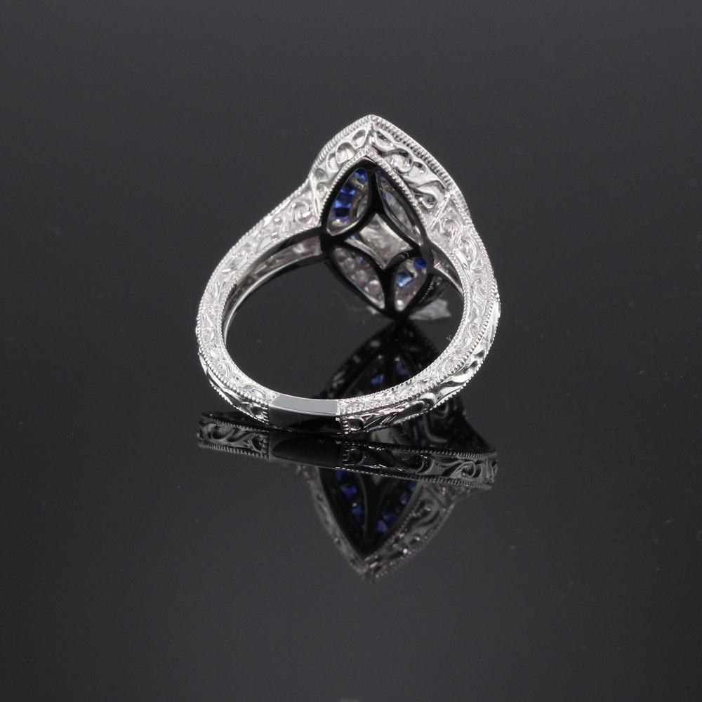 Art Deco Inspired 18K White Gold GIA Marquise Diamond & Sapphire Ring - The Antique Parlour