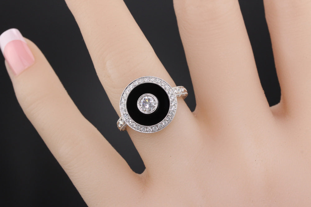 Art Deco Inspired 18K White Gold Onyx & Diamond Ring - The Antique Parlour