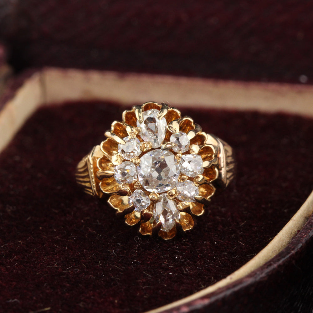 Antique Victorian 18K Rose Gold & Old Cut Diamond Cluster Ring - The Antique Parlour