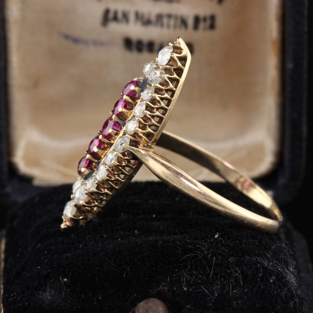 Antique Victorian 14K Yellow Gold, Rose Cut Diamond & Ruby Navette Ring - The Antique Parlour