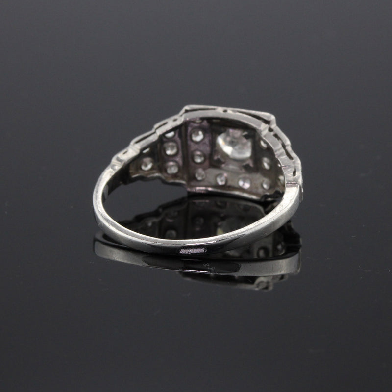 Antique Art Deco Platinum & Diamond Engagement Ring - The Antique Parlour