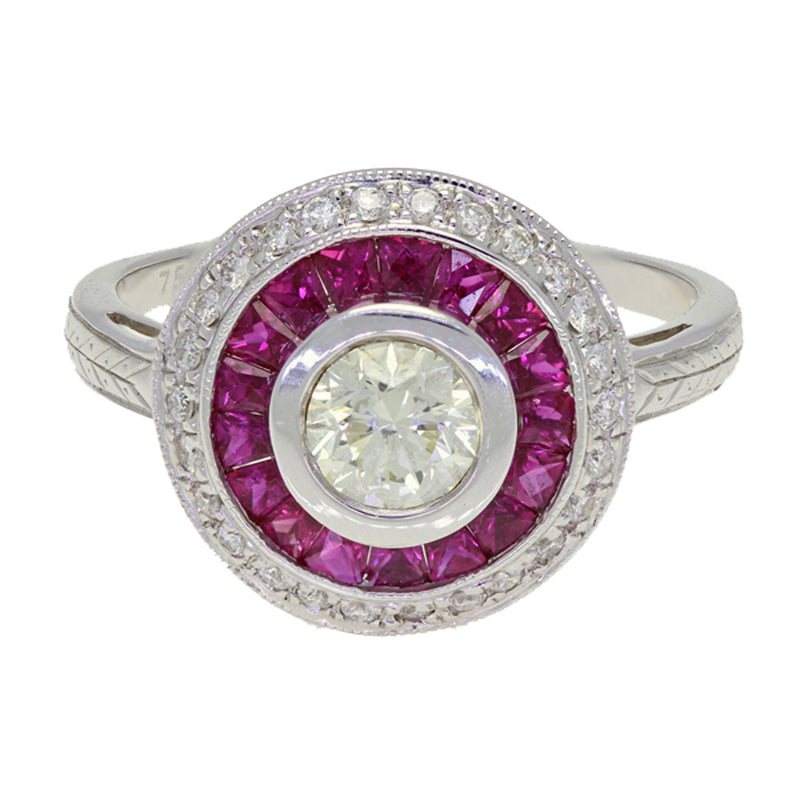 Art Deco Style 18K White Gold Diamond Ruby Ring - The Antique Parlour