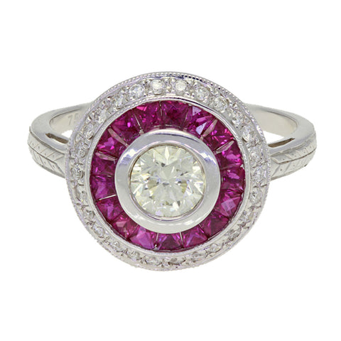 Art Deco Style 18K White Gold Diamond Ruby Ring