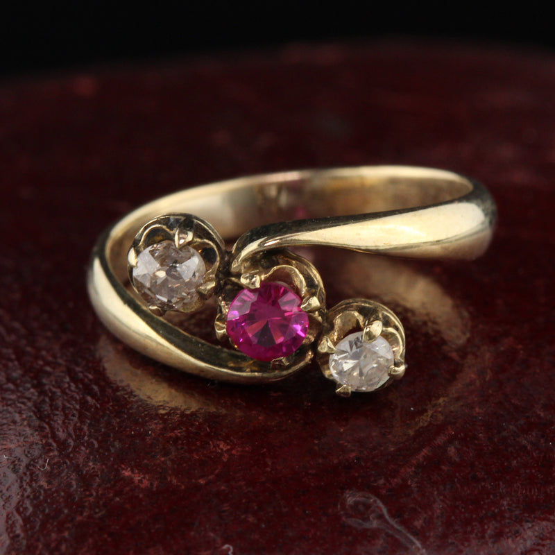 Antique Victorian 14K Yellow Gold Ruby & Diamond 3-Stone Ring - The Antique Parlour