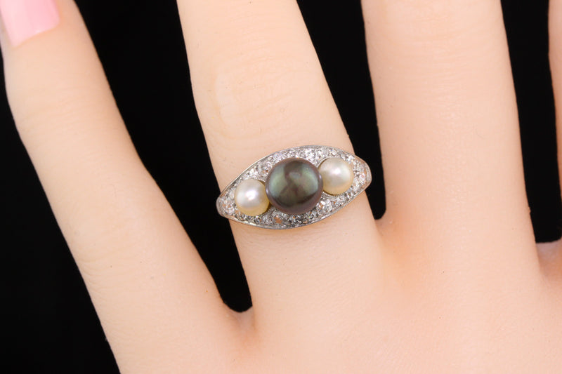 Antique Edwardian Platinum, Diamond & Pearl 3-stone Ring - The Antique Parlour