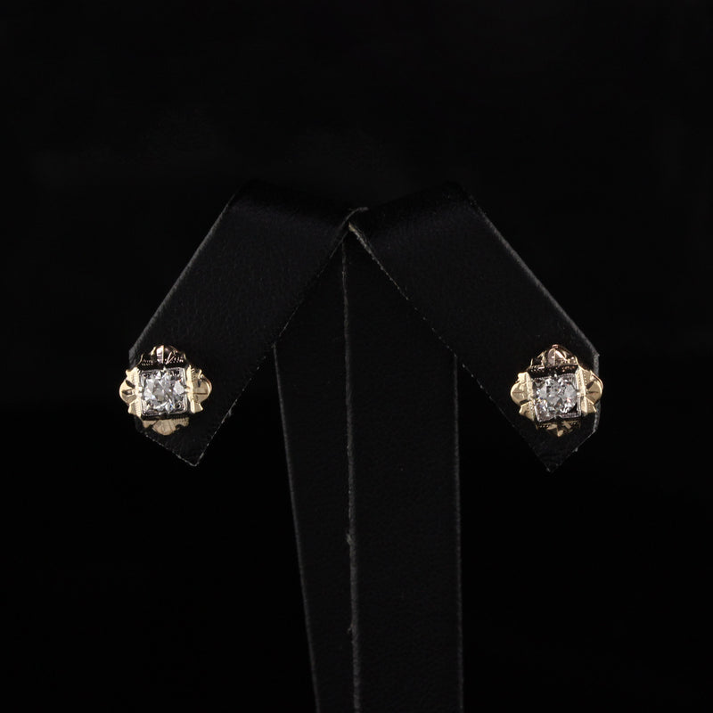 Antique Art Deco 14K Yellow Gold Diamond Earrings
