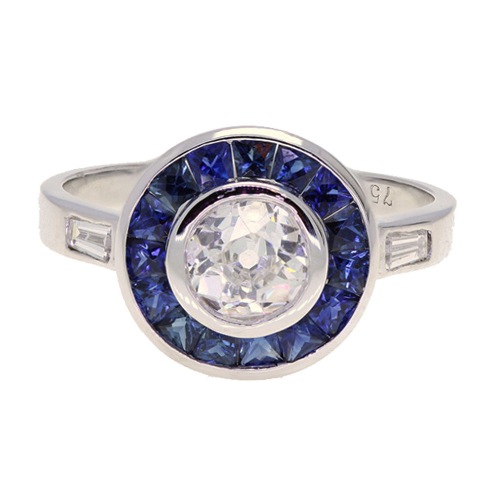 Art Deco Style 18K White Gold Diamond and Sapphire Ring - The Antique Parlour