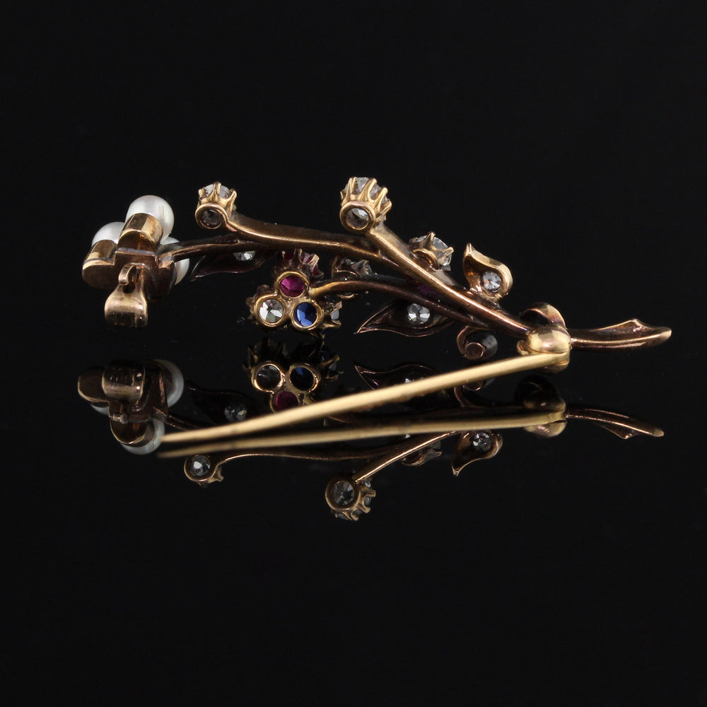 Antique Victorian Yellow Gold & Old Cut Diamond Bouquet Brooch - The Antique Parlour