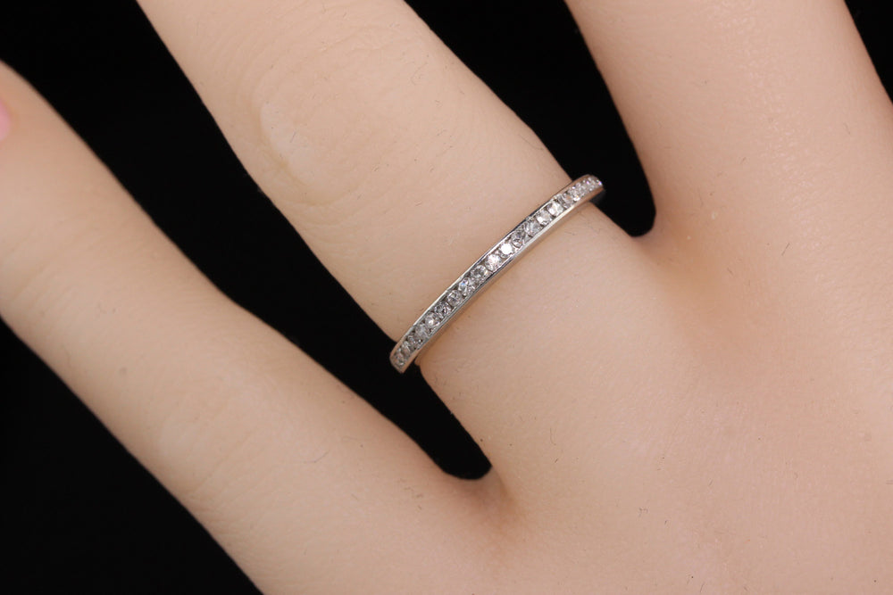 Antique Art Deco Platinum & Diamond Eternity Band - The Antique Parlour