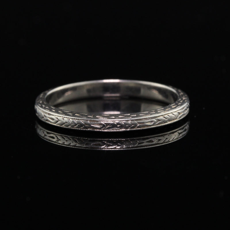 Antique Art Deco Platinum Hand Engraved Wedding Band - The Antique Parlour