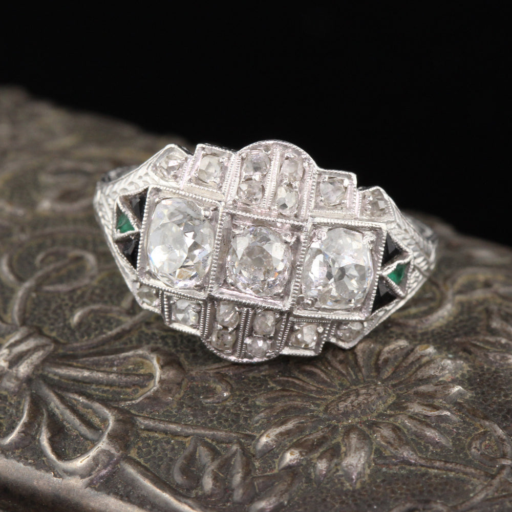 Antique Art Deco Platinum, Diamond, Onyx & Emerald Three Stone Engagement Ring