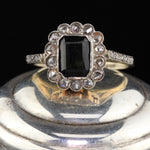Antique Edwardian 14K Yellow Gold, Sapphire & Rose Cut Diamond Cluster Ring