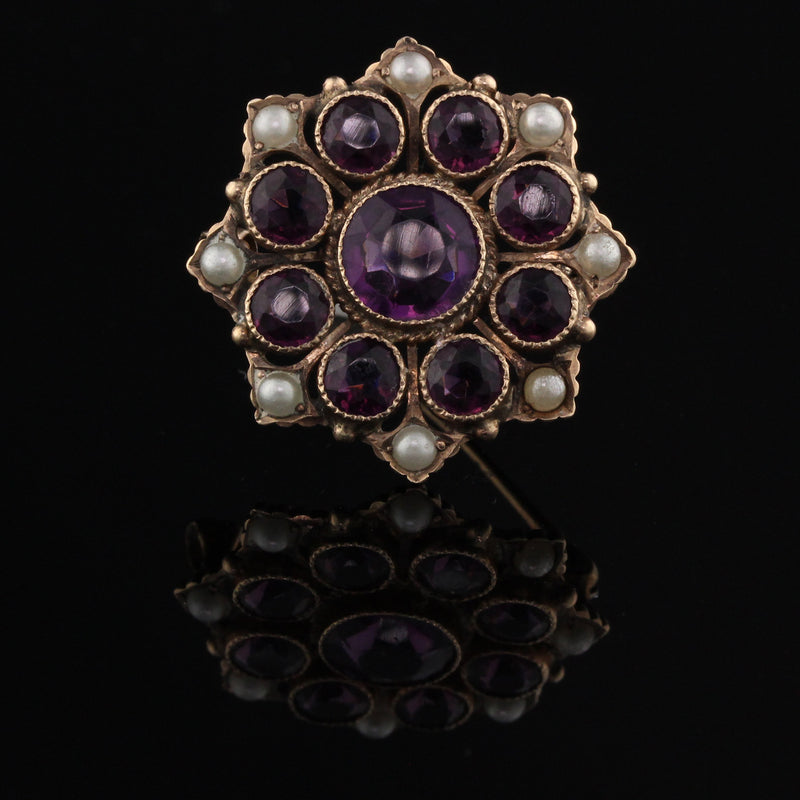 Antique Victorian 14K Yellow Gold, Amethyst & Pearl Brooch