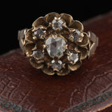 Georgian 10K Yellow & Rose Cut Diamond Cluster Ring - Size 7 3/4 - The Antique Parlour