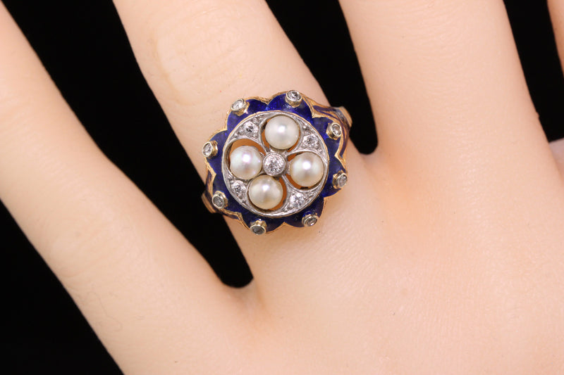 Antique Victorian 14K Yellow Gold, Diamond, Blue Enamel & Pearl Ring - The Antique Parlour