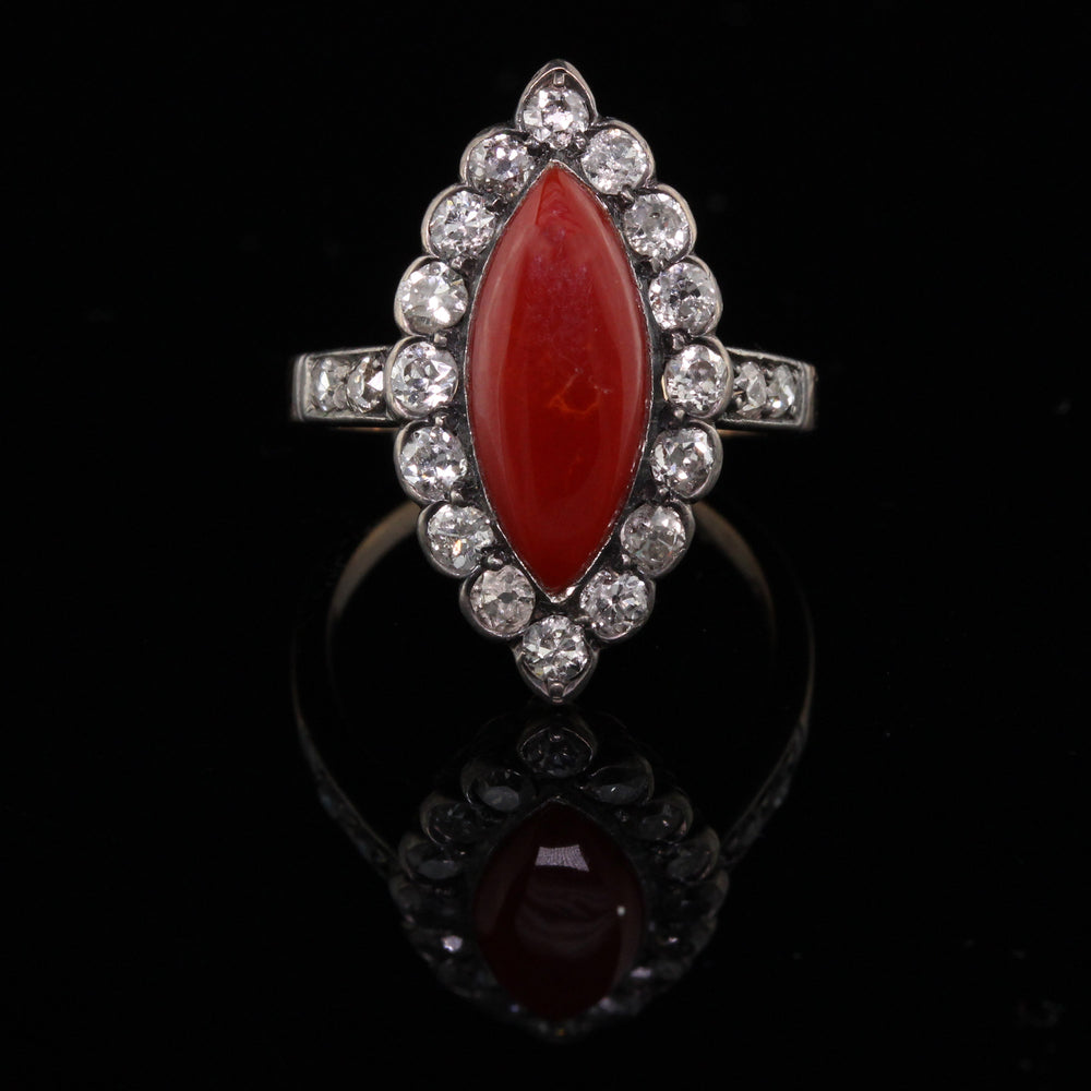 Antique Victorian 18K Yellow Gold Coral and Diamond Navette Ring - The Antique Parlour