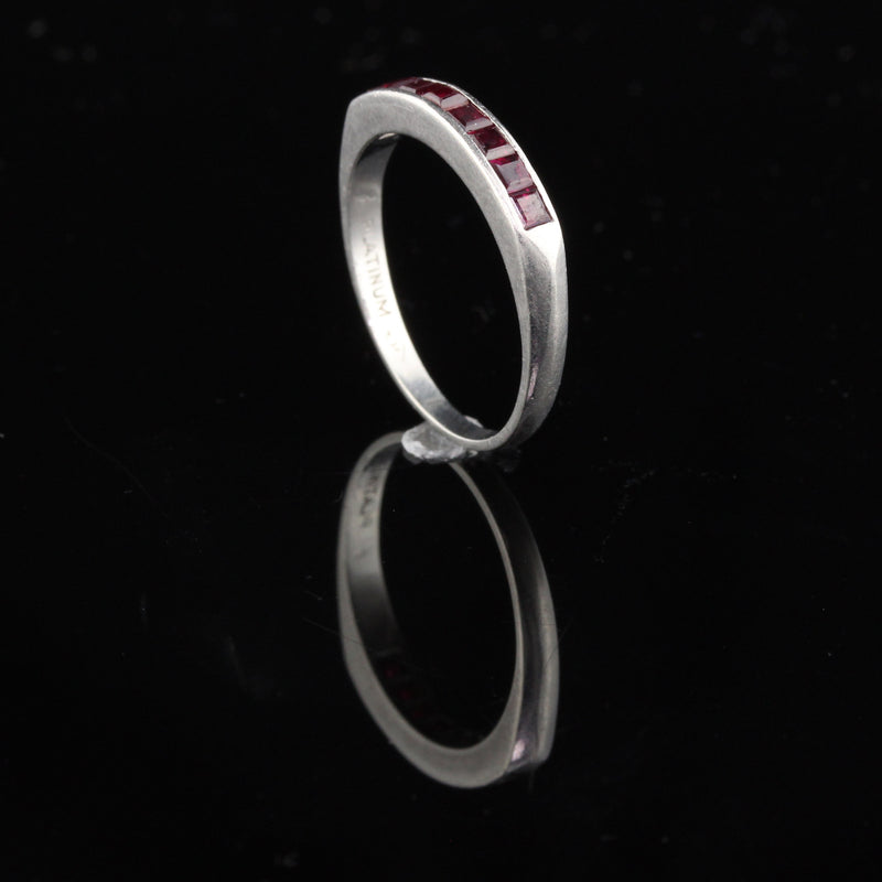 Vintage Estate Platinum Ruby Half Eternity Band - Chrono Envy