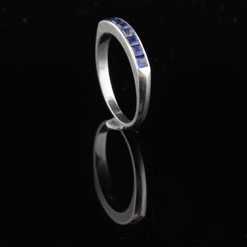 Vintage Estate Platinum Sapphire Half Eternity Band - Chrono Envy
