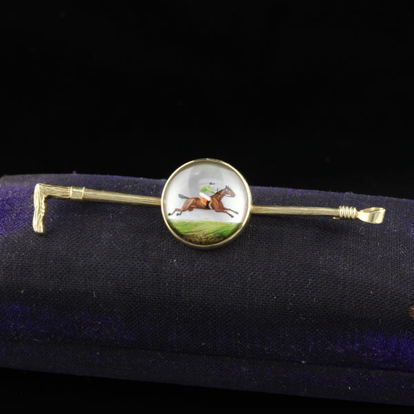 Vintage Estate 14K Yellow Gold Reverse Crystal Jockey Equestrian Bar Brooch - The Antique Parlour