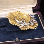 Vintage 18K Yellow Gold & Silver Garden Party Hat Brooch - The Antique Parlour