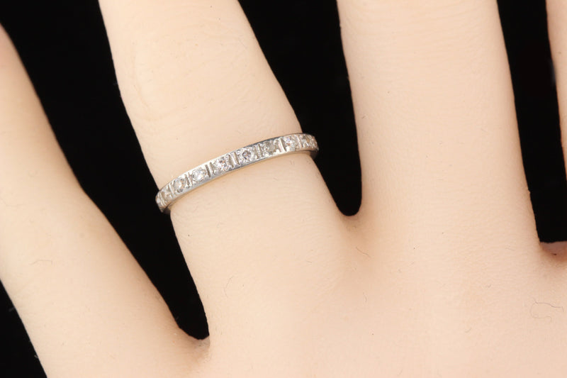 Antique Art Deco Platinum Diamond Eternity Band - Size 5.5 - The Antique Parlour
