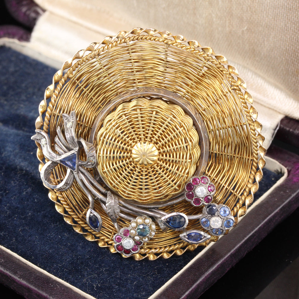 Vintage 18K Yellow Gold & Silver Garden Party Hat Brooch