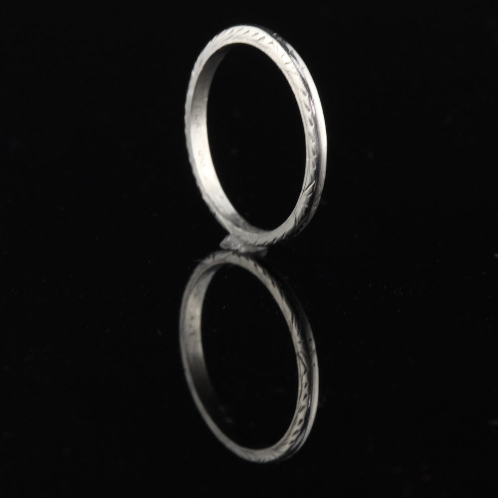 Antique Art Deco Platinum Engraved Wedding Band - Size 5.75 - The Antique Parlour