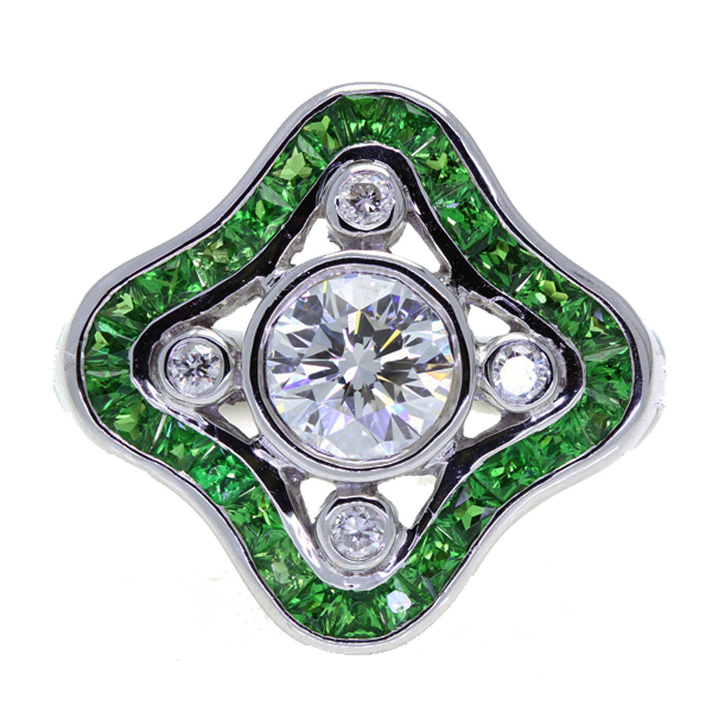 Art Deco Style 18K White Gold Diamond and Tsavorite Ring