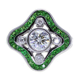 Art Deco Style 18K White Gold Diamond and Tsavorite Ring - The Antique Parlour
