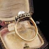 Antique Victorian 18K Yellow Gold Rose Cut Diamond & Pearl Cluster Ring - The Antique Parlour