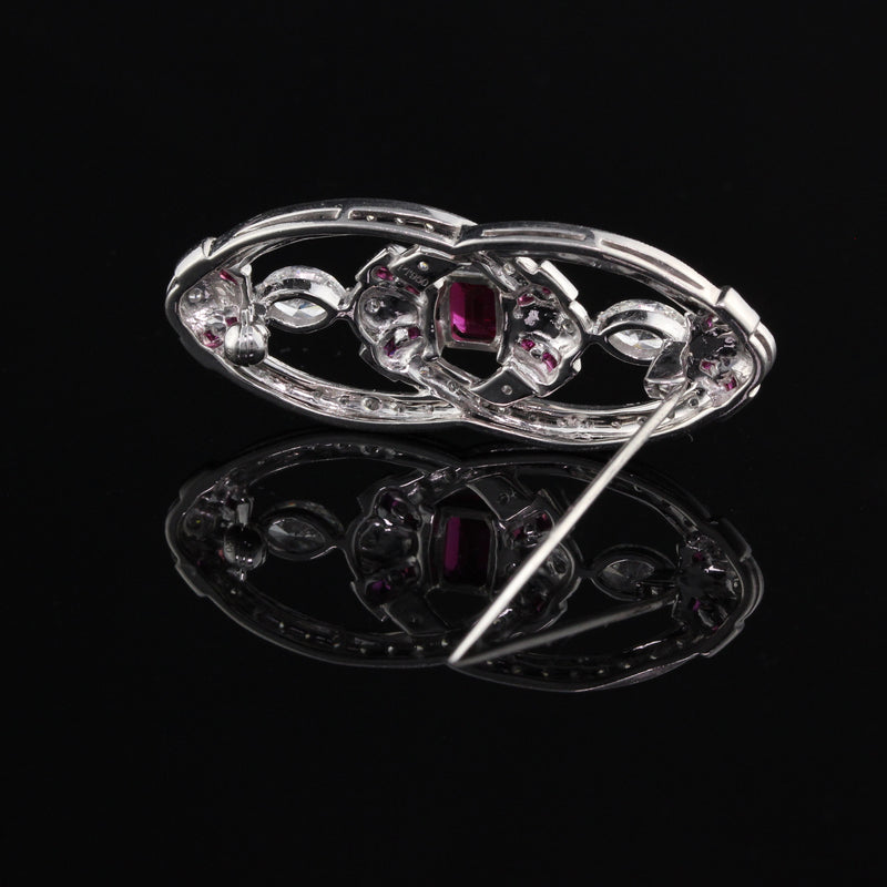 Art Deco Style Platinum, Diamond & Ruby Pin Brooch - The Antique Parlour