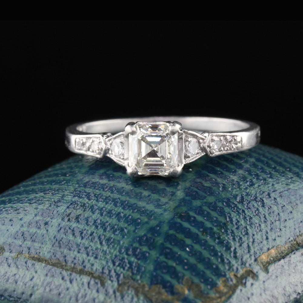 Antique Art Deco Platinum Asscher Cut Diamond Engagement Ring - The Antique Parlour