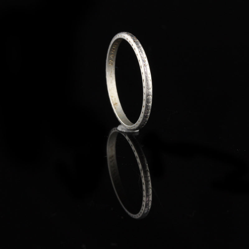 Circa 1936 - Antique Art Deco Platinum Engraved Wedding Band - Size 6.25