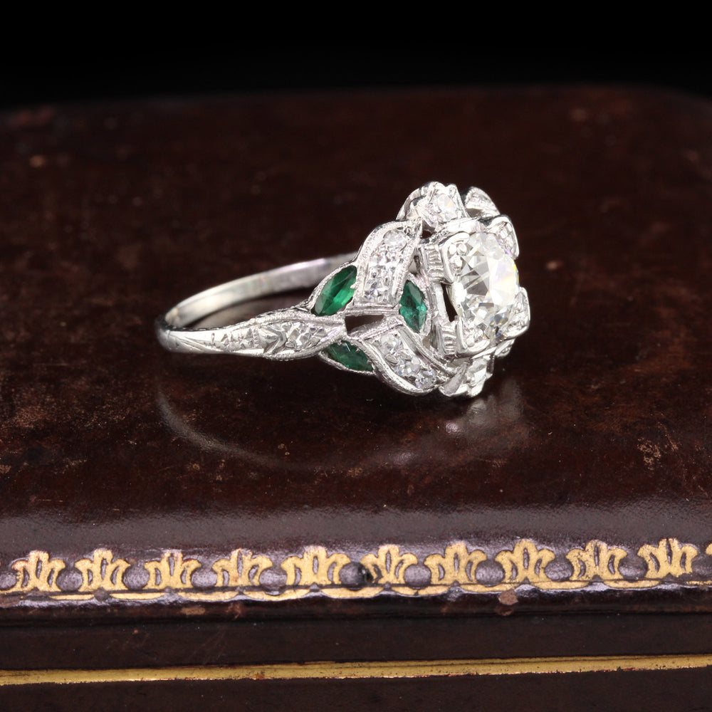 Antique Art Deco Platinum Diamond & Emerald Engagement Ring