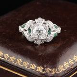 Antique Art Deco Platinum Diamond & Emerald Engagement Ring - The Antique Parlour