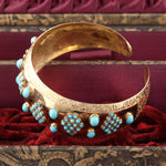 Antique 18K Yellow Gold & Turquoise Arm Cuff - Chrono Envy