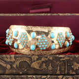 Vintage Estate 18K Yellow Gold Turquoise Arm Cuff Bangle