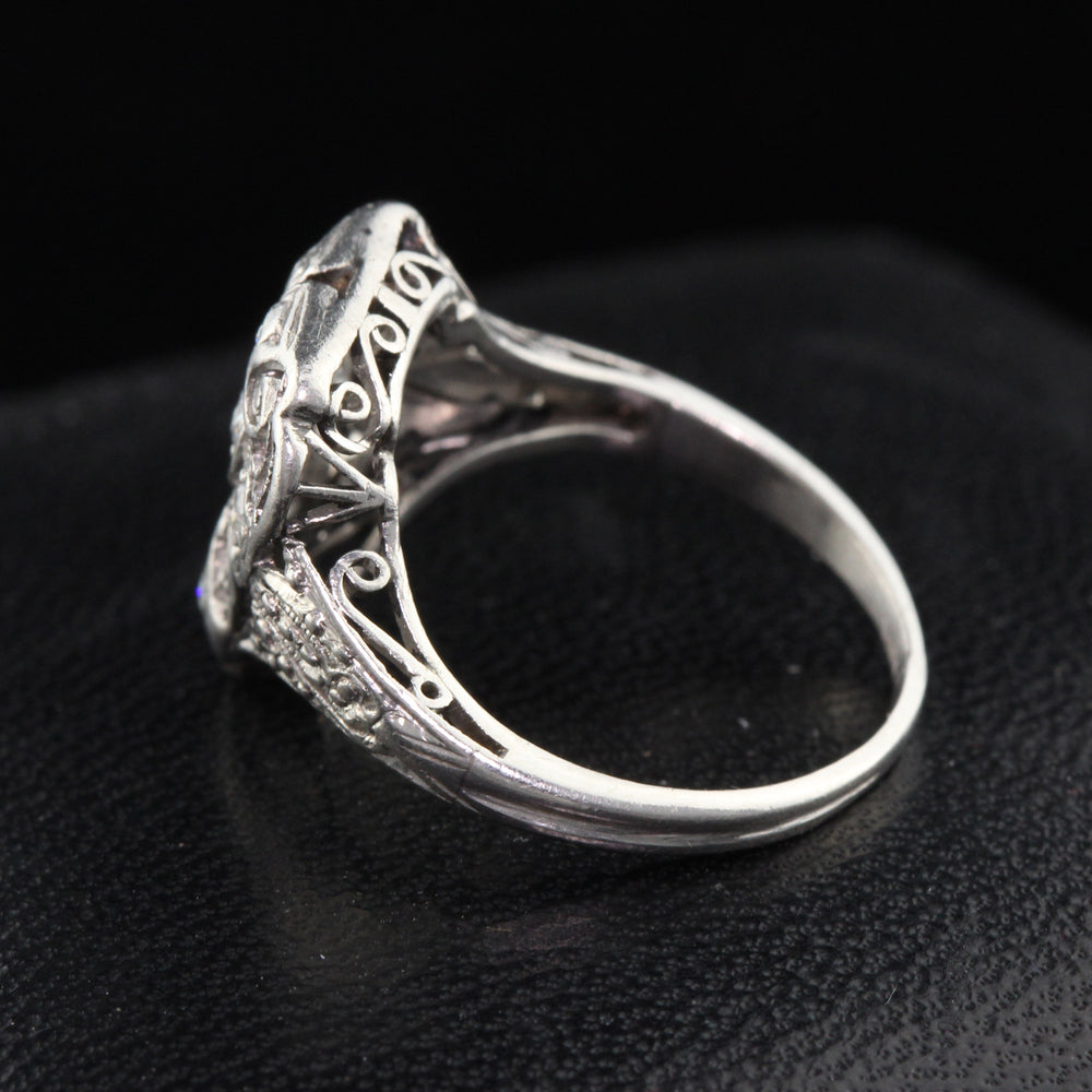 Antique Art Deco Platinum & Diamond Shield Ring - The Antique Parlour