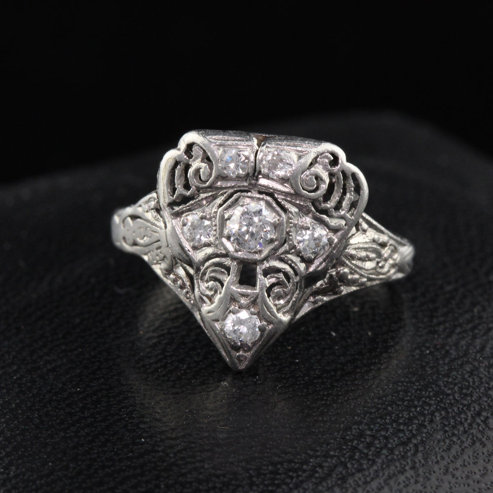 Antique Art Deco Platinum & Diamond Shield Ring