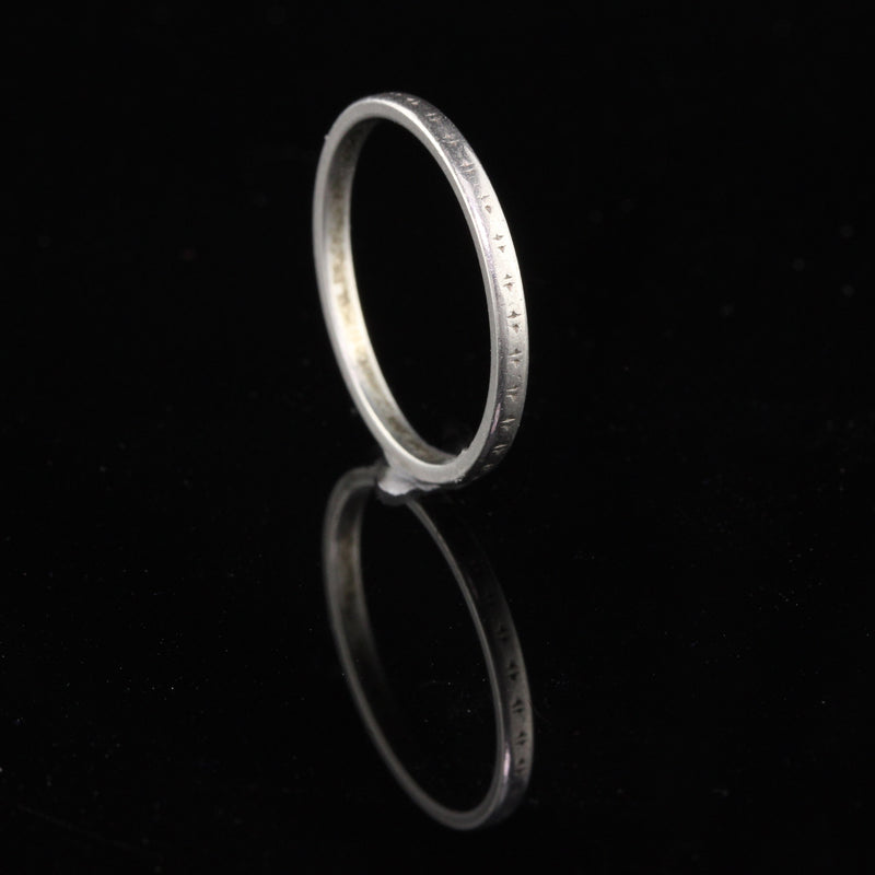Antique Art Deco Platinum Engraved Wedding Band - Size 7 - The Antique Parlour