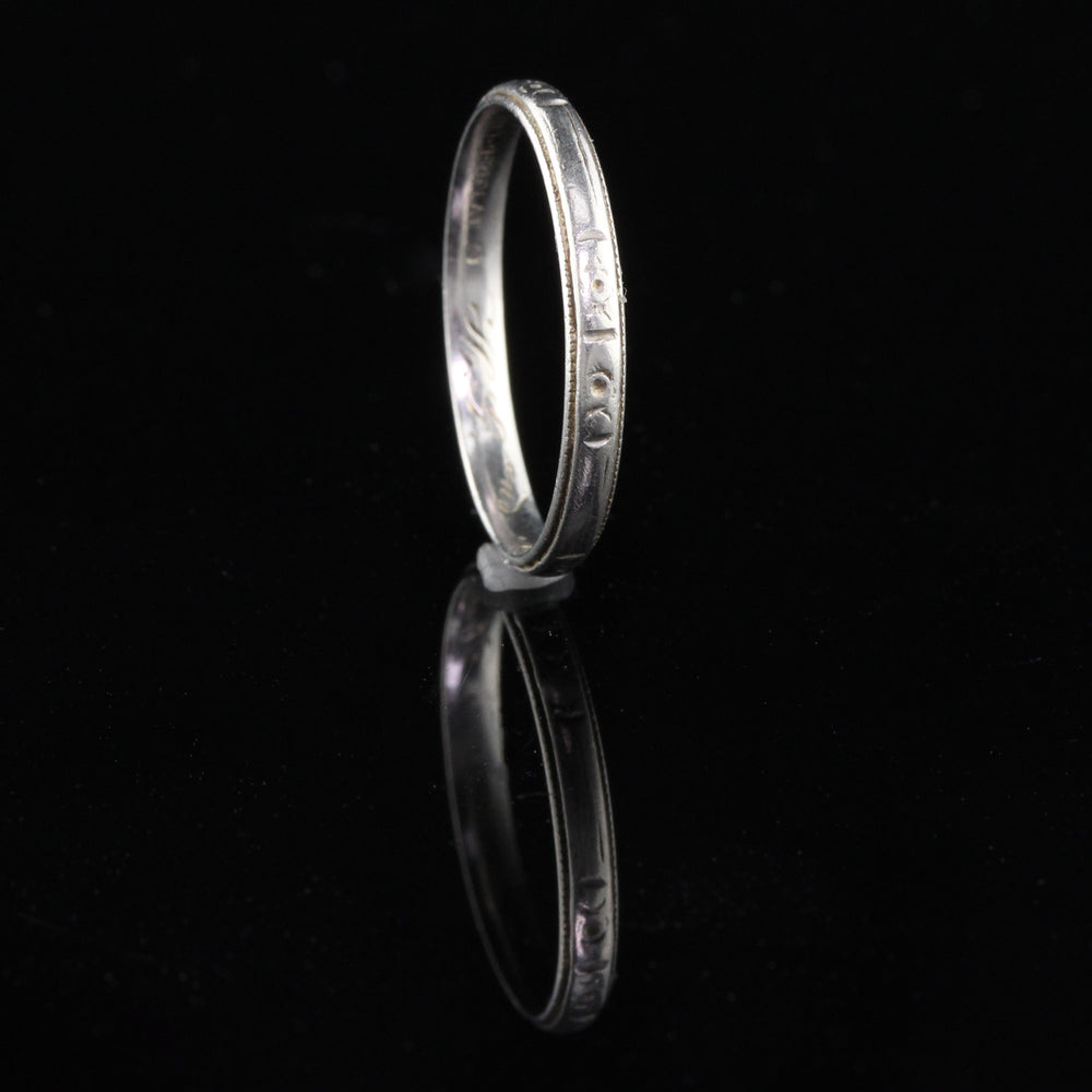 Circa 1930 - Art Deco Platinum Engraved Wedding Band - Size 7 - The Antique Parlour