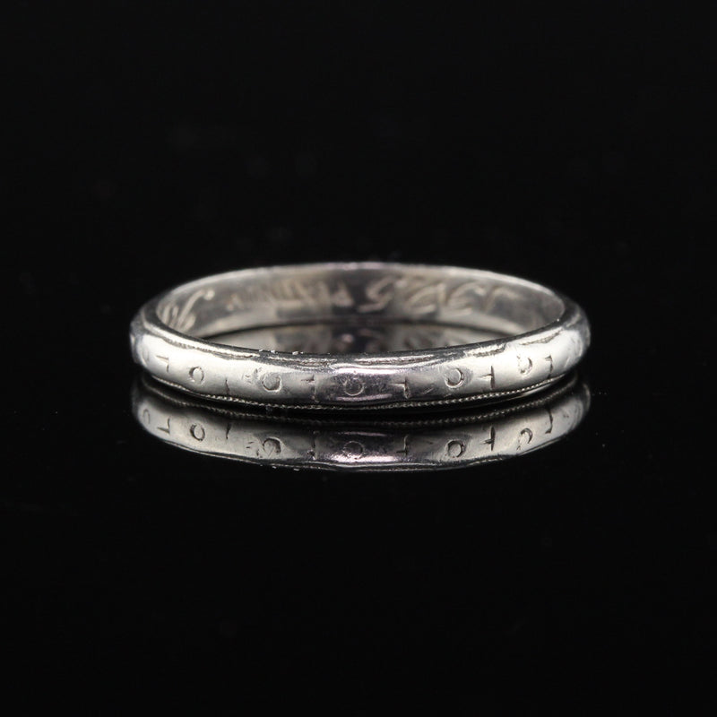 Circa 1925 - Antique Art Deco Platinum Engraved Wedding Band - Size 5.75