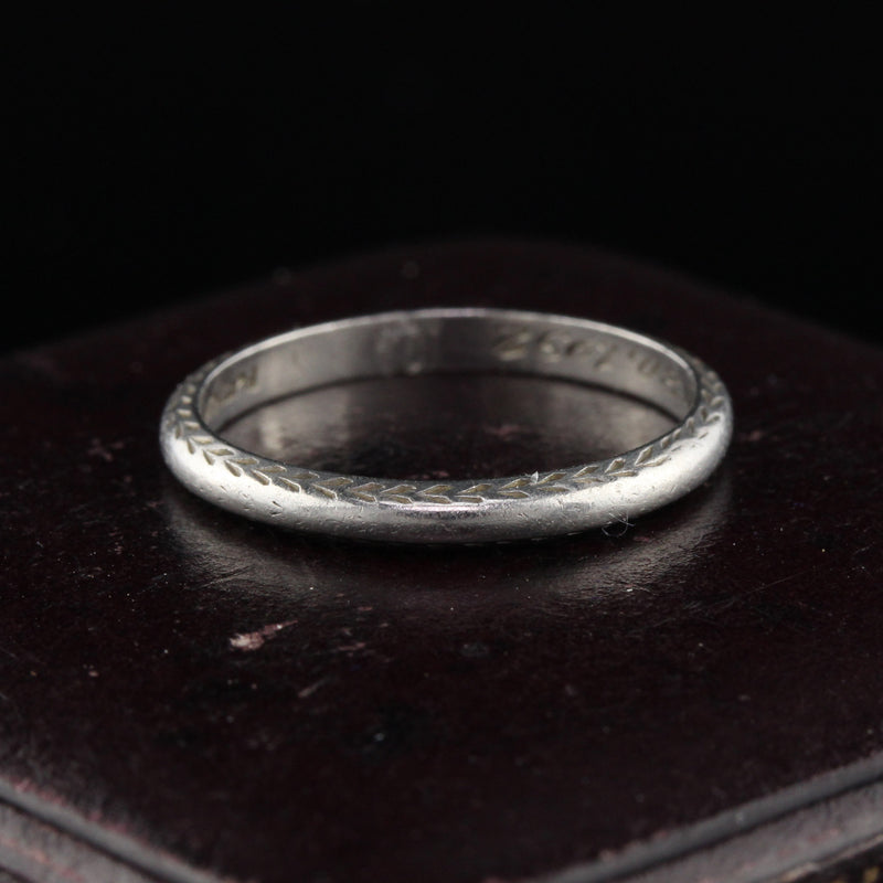 Circa 1932 - Antique Art Deco Platinum Engraved Wedding Band - Size 5 - The Antique Parlour
