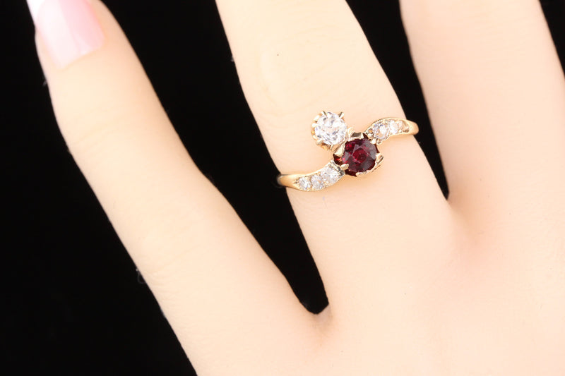 Antique Antique Victorian Rose Gold 'Toi Et Moi Ruby & Diamond Engagement Ring