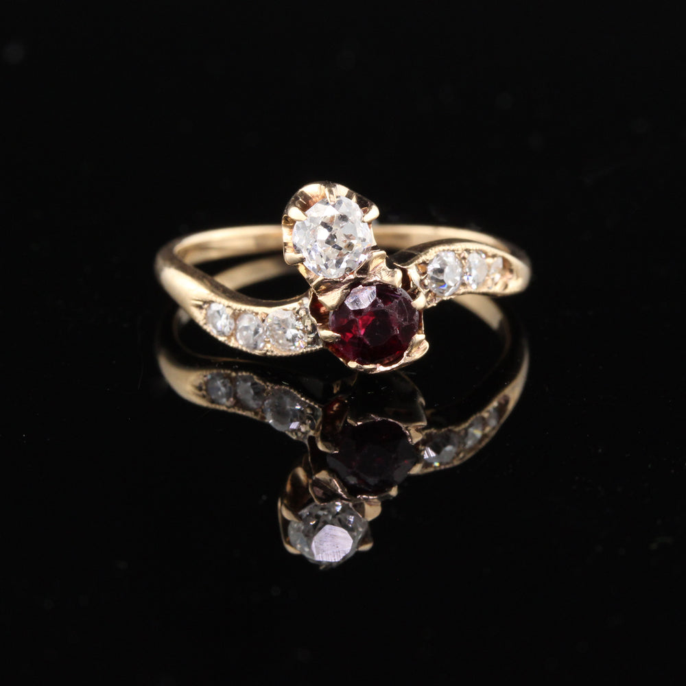 Antique Victorian Rose Gold 'Toi Et Moi Ruby & Diamond Engagement Ring